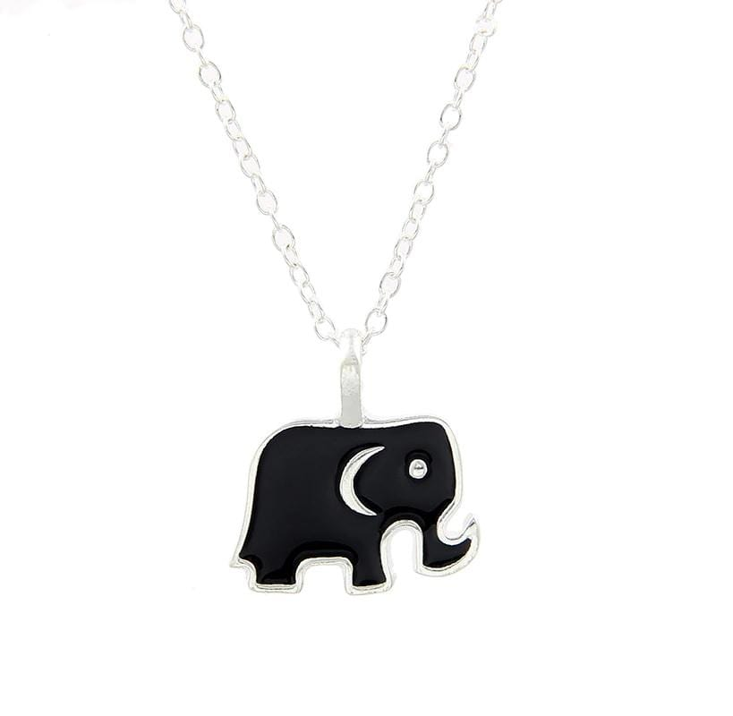 Elephant Shirt Store Accessories Good Luck Hand Enameled Elephant Charm Pendant Silver and Black