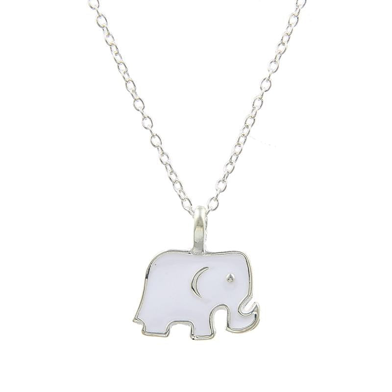 Elephant Shirt Store Accessories Good Luck Hand Enameled Elephant Charm Pendant Silver and White