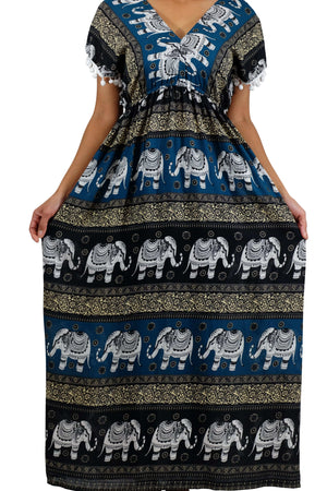 Elephant Shirt Store Dress Chang Colorful Bohemian Style Teal