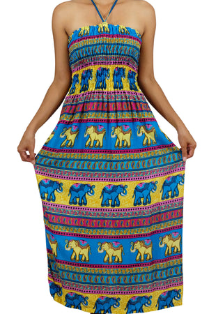 Elephant Shirt Store Dress Chang Colorful Halter Elephant Dress Blue