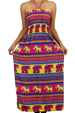 Elephant Shirt Store Dress Chang Colorful Halter Elephant Dress Pink
