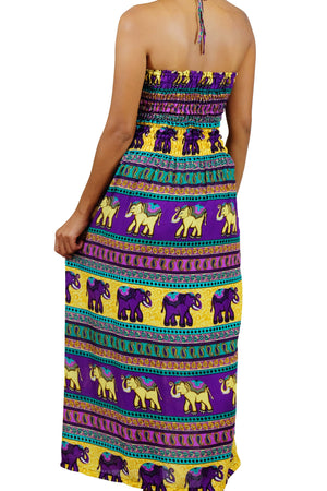 Elephant Shirt Store Dress Chang Colorful Halter Elephant Dress Purple