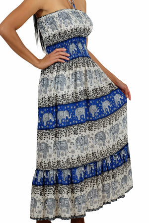 Elephant Shirt Store Dress Chang Hits Halter Elephant Dress Blue