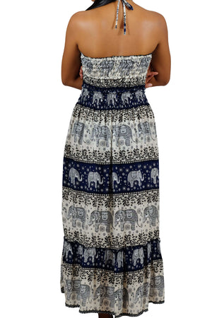 Elephant Shirt Store Dress Chang Hits Halter Elephant Dress Dark Blue