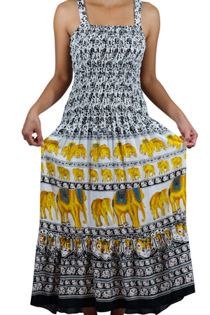Elephant Shirt Store Dress Chang Hmu Elephant Dress Black and Gold