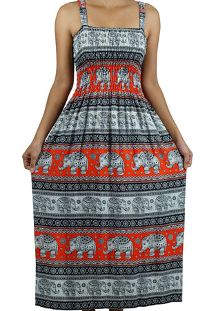 Elephant Shirt Store Dress Chang Phun Elephant Dress White and Orange