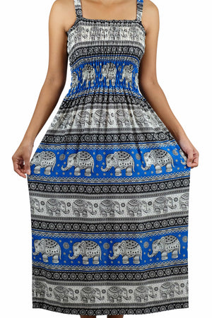 Elephant Shirt Store Dress Chang Phun Elephant Dress White and Sky Blue