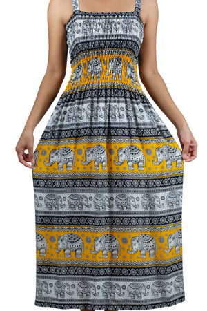 Elephant Shirt Store Dress Chang Phun Elephant Dress White and Yellow