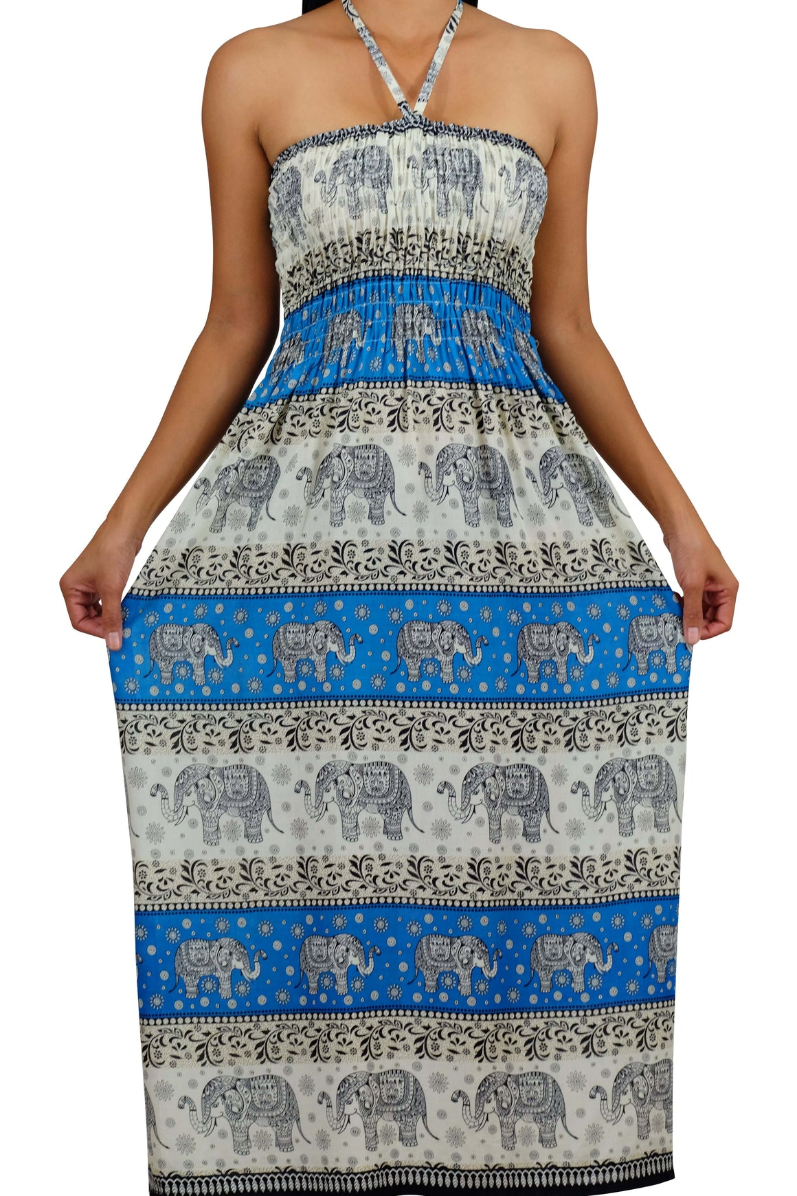 Elephant Shirt Store Dress Chang Phun Halter Elephant Dress White and Blue