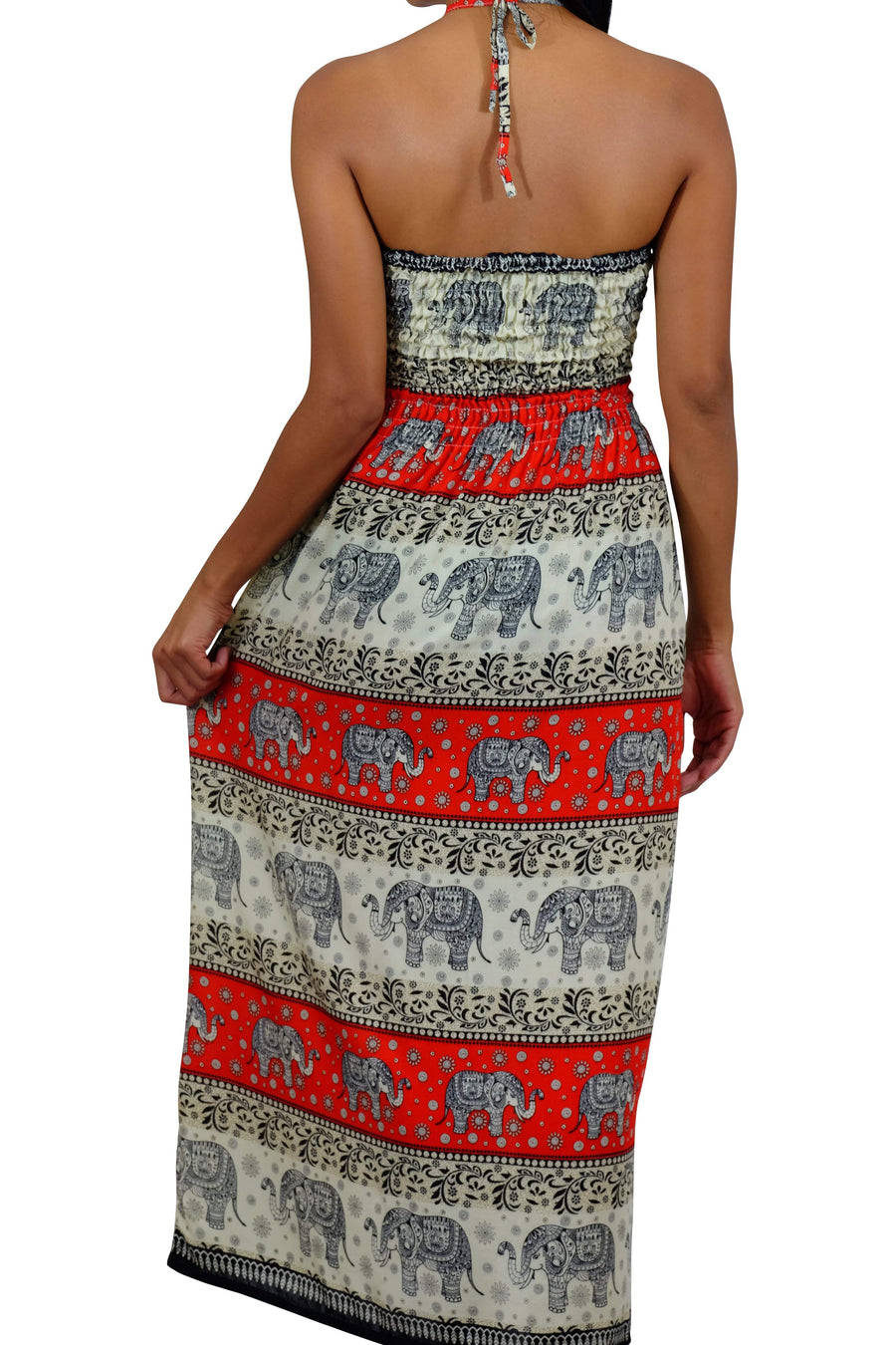 Elephant Shirt Store Dress Chang Phun Halter Elephant Dress White and Dark Orange