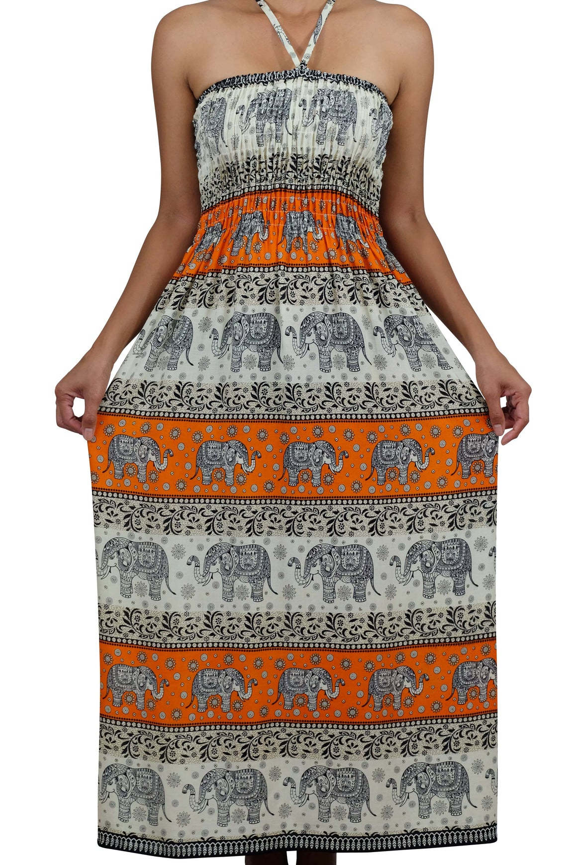 Elephant Shirt Store Dress Chang Phun Halter Elephant Dress White and Light Orange