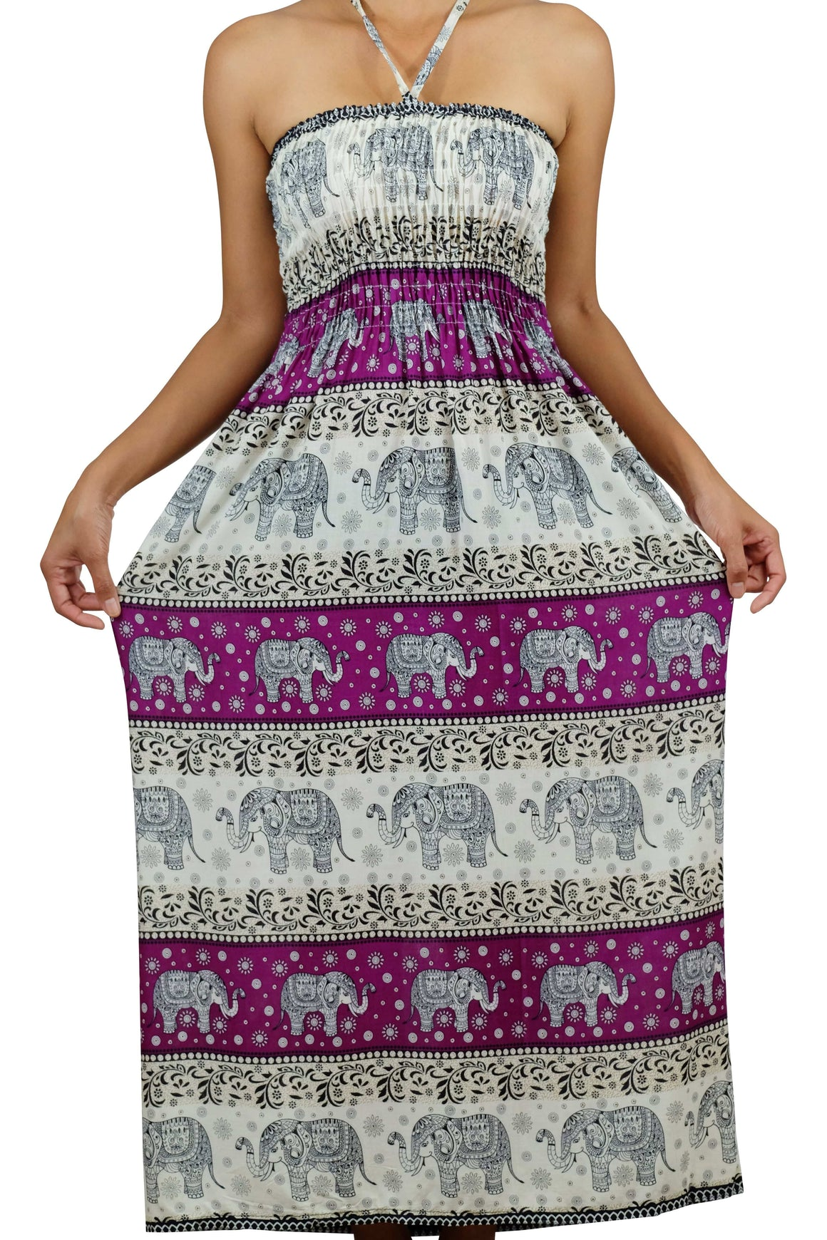 Elephant Shirt Store Dress Chang Phun Halter Elephant Dress White and Purple