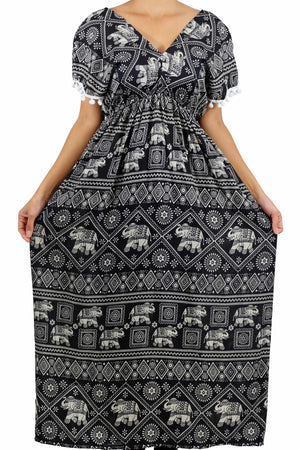 Elephant Shirt Store Dress Chang Stamp Bohemian Style Black