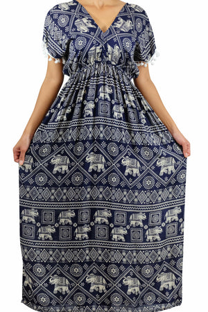 Elephant Shirt Store Dress Chang Stamp Bohemian Style Dark Blue