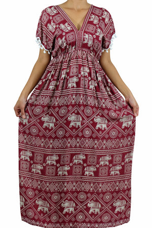 Elephant Shirt Store Dress Chang Stamp Bohemian Style Red