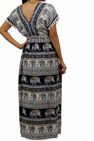 Elephant Shirt Store Dress Chang Tophit Bohemian Style Dark Blue