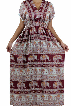 Elephant Shirt Store Dress Chang Tophit Bohemian Style Red