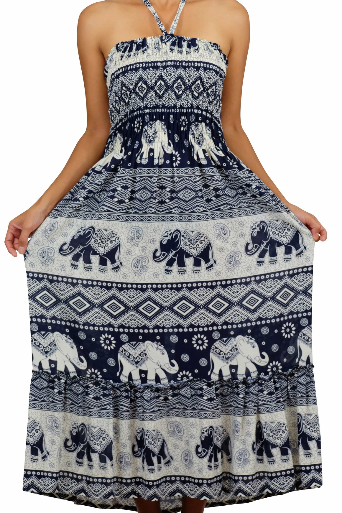 Elephant Shirt Store Dress DokPhikul Halter Elephant Dress Black