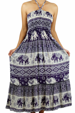 Elephant Shirt Store Dress DokPhikul Halter Elephant Dress Purple