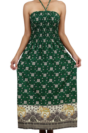 Elephant Shirt Store Dress Dokrak Halter Elephant Dress Green