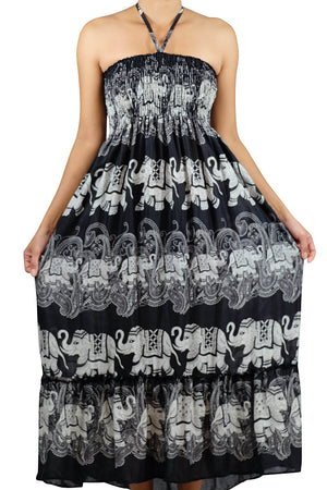Elephant Shirt Store Dress Laithai Halter Elephant Dress Black