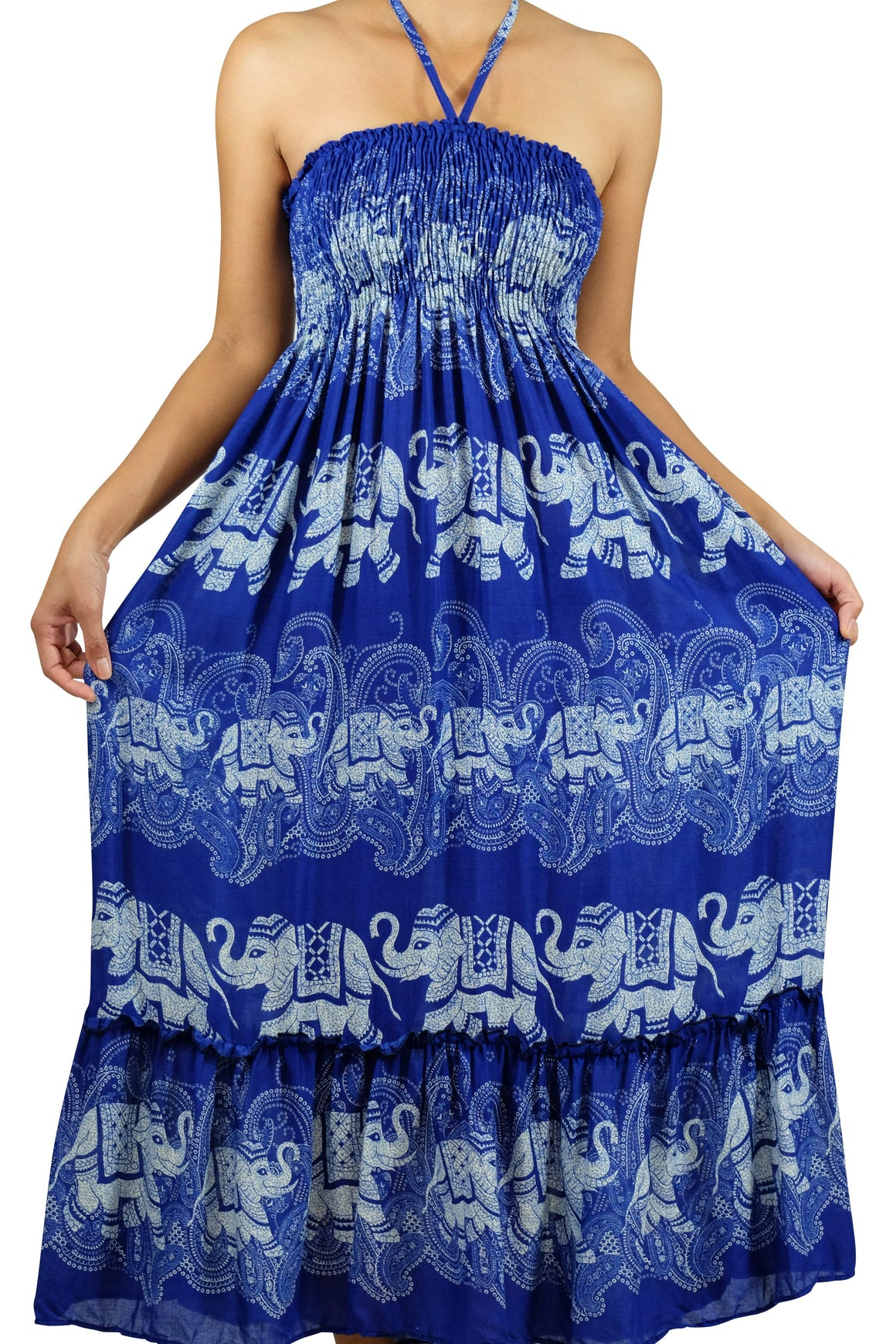 Elephant Shirt Store Dress Laithai Halter Elephant Dress Blue