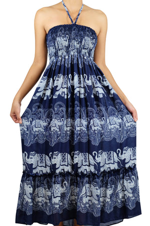 Elephant Shirt Store Dress Laithai Halter Elephant Dress Dark Blue