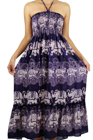 Elephant Shirt Store Dress Laithai Halter Elephant Dress Purple
