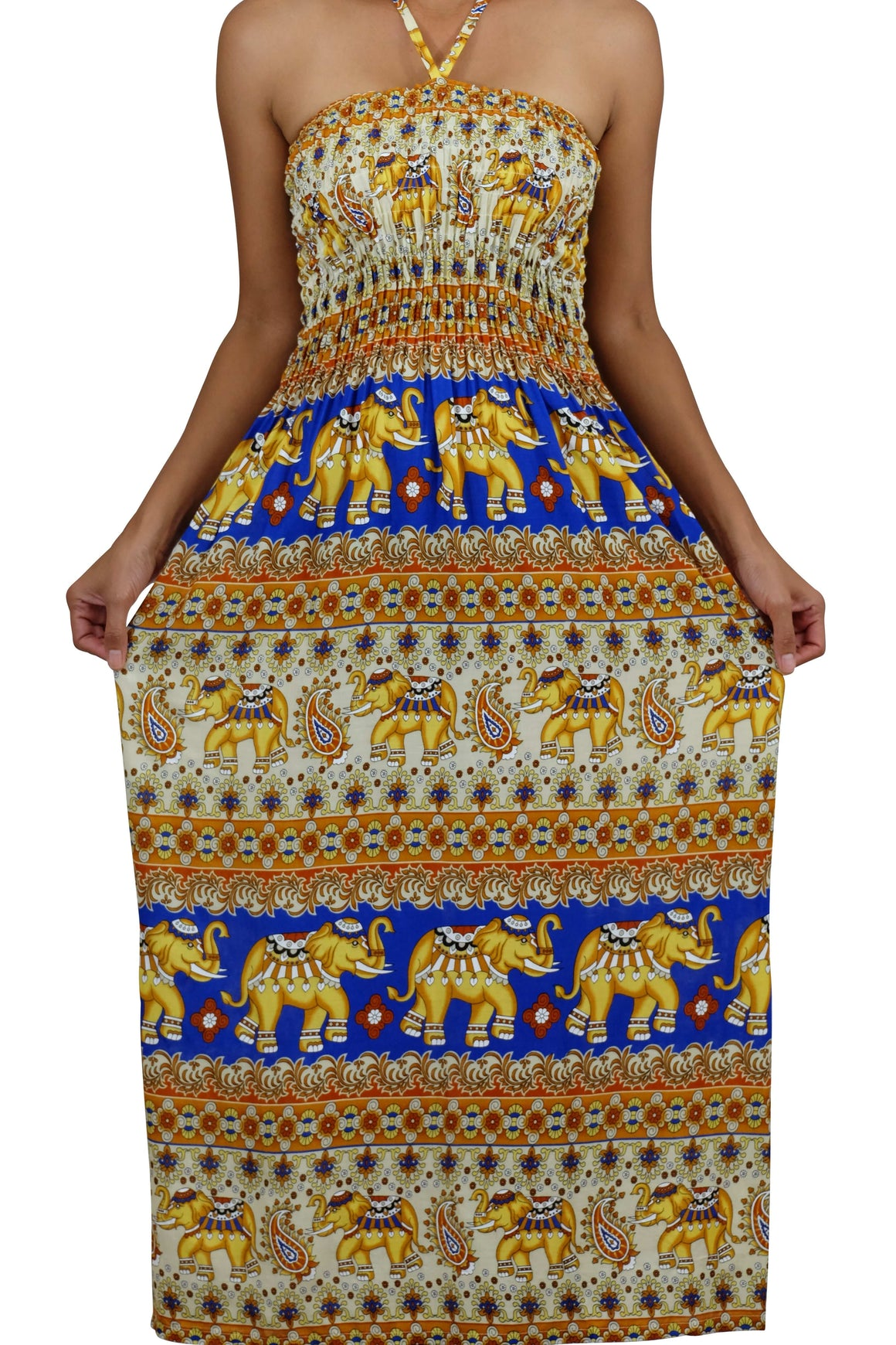 Elephant Shirt Store Dress Tahwan Halter Elephant Dress Blue