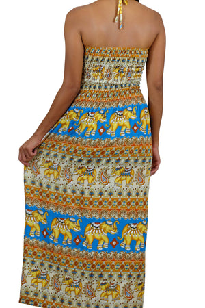 Elephant Shirt Store Dress Tahwan Halter Elephant Dress Light Blue