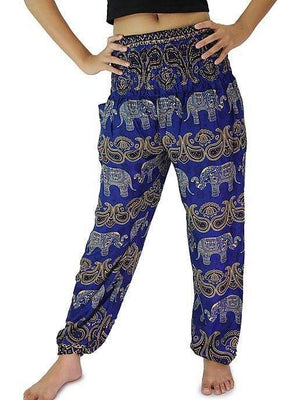 Elephant Shirt Store Pants Lay Chang Colorful Dark Blue Elephant Pants