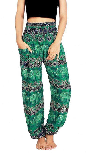 Elephant Shirt Store Pants Lay Chang Colorful Green Elephant Pants