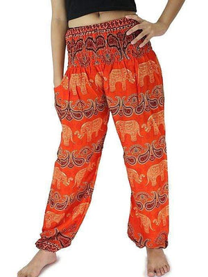 Elephant Shirt Store Pants Lay Chang Colorful Orange Elephant Pants