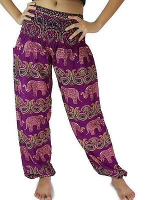 Elephant Shirt Store Pants Lay Chang Colorful Plum Elephant Pants