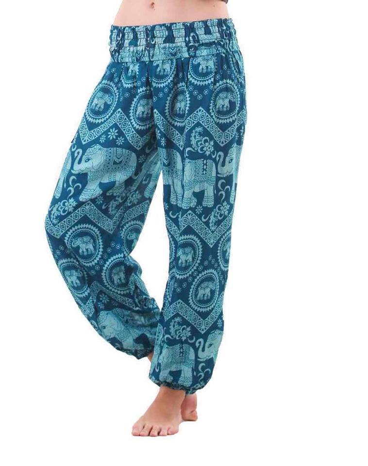 Elephant Shirt Store Pants Lay Chang Kongchak Teal Elephant Pants