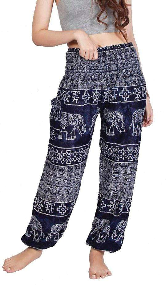 Elephant Shirt Store Pants Lay Chang Madyum Dark Blue Elephant Pants