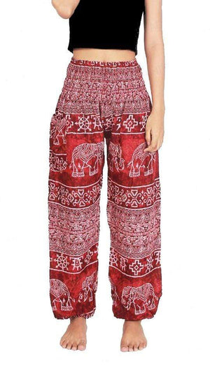 Elephant Shirt Store Pants Lay Chang Madyum Red Elephant Pants