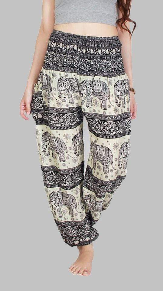 Elephant Shirt Store Pants Lay Chang Phun White & Black Elephant Pants