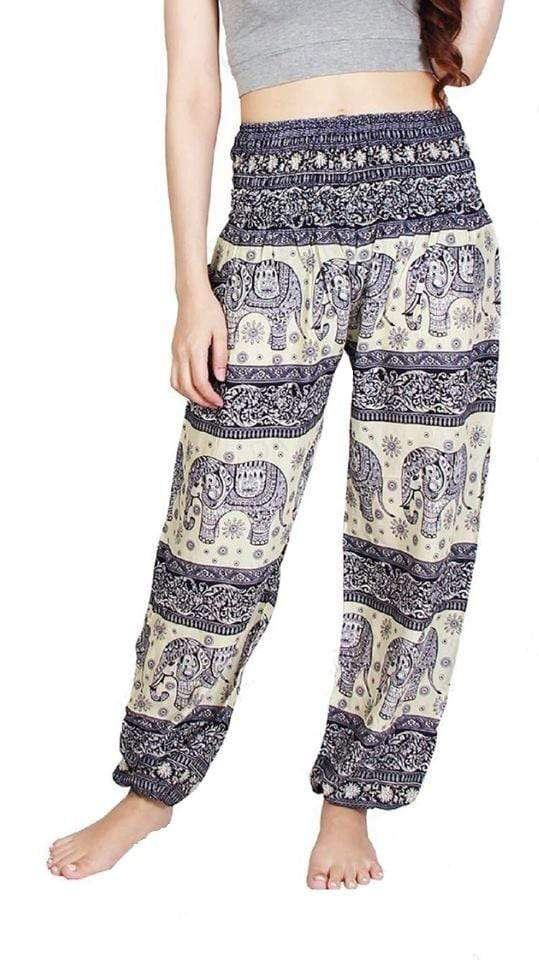 Elephant Shirt Store Pants Lay Chang Phun White & Dark Blue Elephant Pants