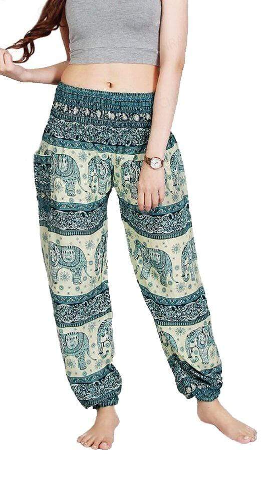 Elephant Shirt Store Pants Lay Chang Phun White & Green Elephant Pants