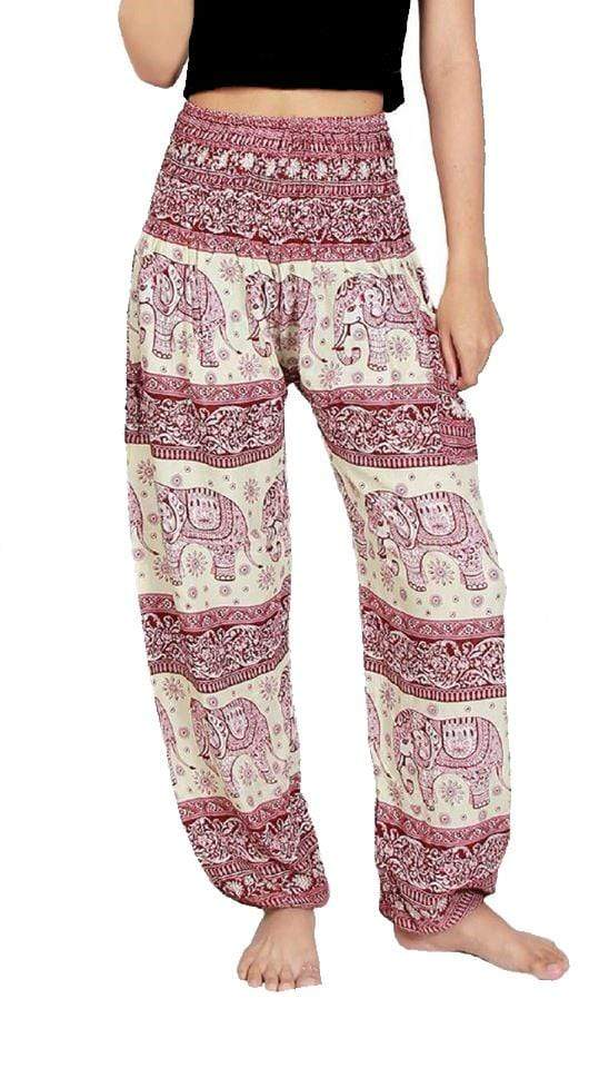 Elephant Shirt Store Pants Lay Chang Phun White & Red Elephant Pants