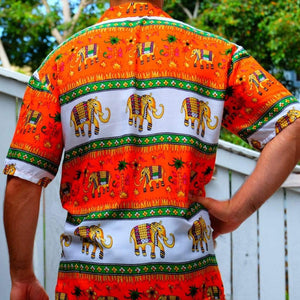 Elephant Shirt Store Shirt 2XL Ngachang Shirt - Orange and Green