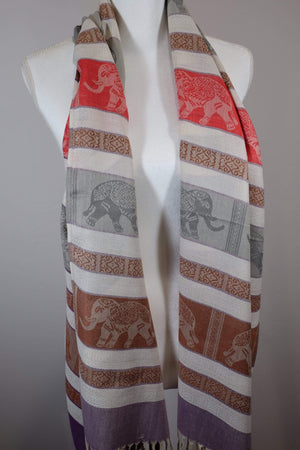 Elephant Shirt Store Women's Facing Elephants Pashmina - Light Colors