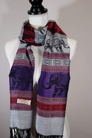 Elephant Shirt Store Women's Facing Elephants Pashmina - Vivid Colors