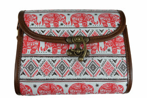 Elephant Shirt Store Women's Handmade Elephant Shoulder Bag - Rectangular Red and Black