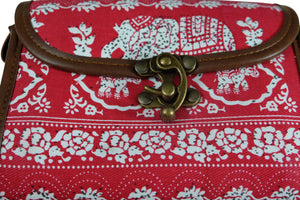 Elephant Shirt Store Women's Handmade Elephant Shoulder Bag - Rectangular Solid Red