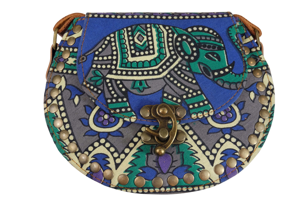 Elephant Shirt Store Women's Handmade Elephant Shoulder Bag -  Style A Blue, Green, Grey