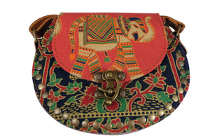 Elephant Shirt Store Women's Handmade Elephant Shoulder Bag -  Style A Red, Orange, Black