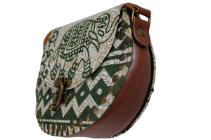 Elephant Shirt Store Women's Handmade Elephant Shoulder Bag -  Style B Green and White