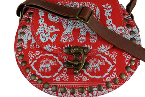 Elephant Shirt Store Women's Handmade Elephant Shoulder Bag -  Style B Red